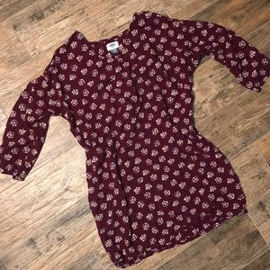 Old navy maroon mini shift dress size M